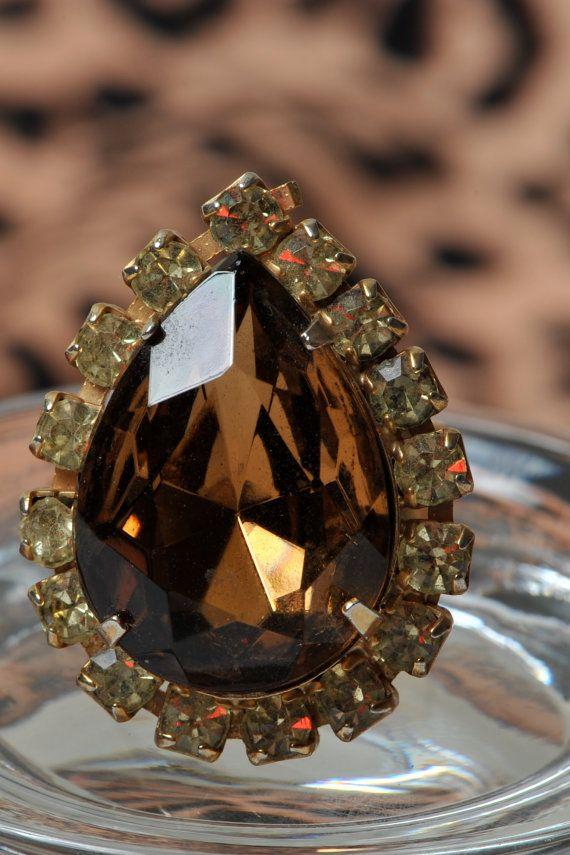 Brown Teardrop Cut Rhinestone Cocktail Ring