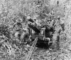Manhandling a 25 pounder along the Kokoda Track......... What more can you…
