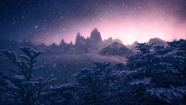 Скачать обои зима, снег, деревья, горы, Argentina, Аргентина, Анды, Patagonia, Патагония, Andes, Monte Fitz Roy, гора Фицрой, раздел природа в разрешении 1920x1080