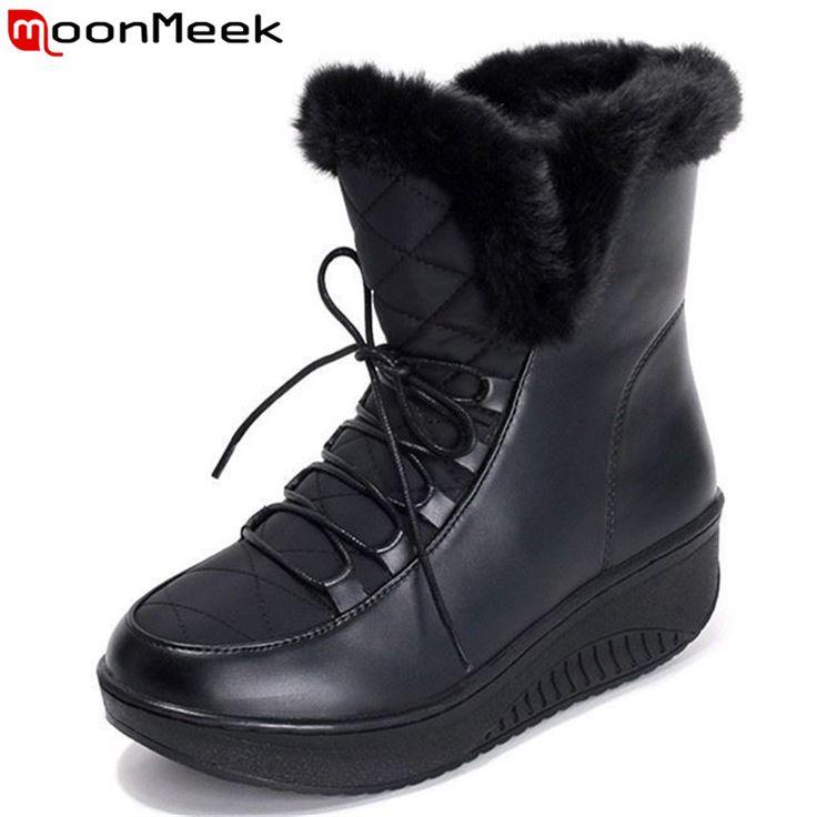 Plus size 35-44 New 2017 Snow Boots platform women winter shoes waterproof ankle boots lace up fur boots white black black white