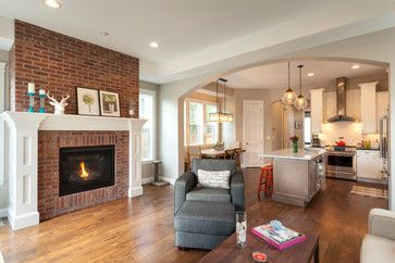 living rom with red brick fire place | 40,041 red brick fireplace Home Design Photos