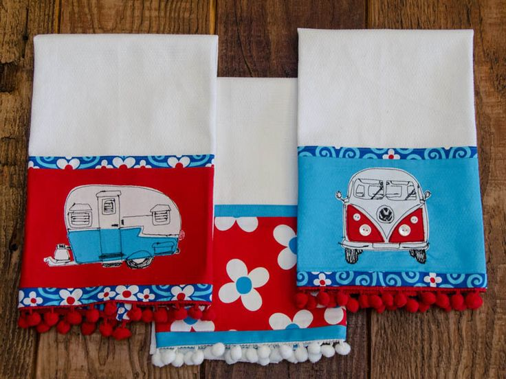 Embellished Dish Towels -- includes the pattern for the applique, and wonderful picture-by-picture instructions!