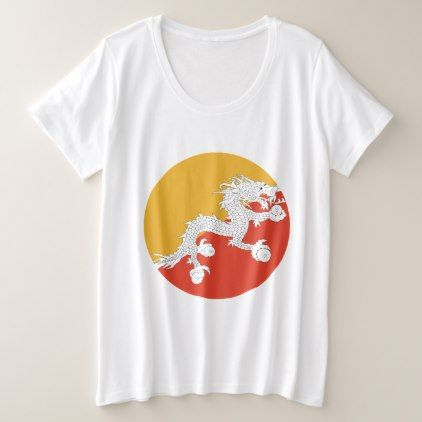#Bhutan Flag Plus Size T-Shirt - #country gifts style diy gift ideas