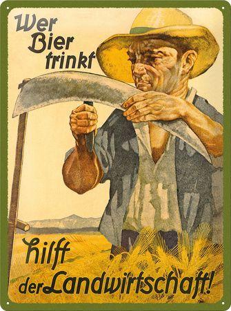 Biertrinken hilft der Landwirtschaft Blechschild b…