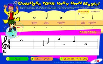 Classics For Kids - Drag the notes and rests to Compose Your Very Own Music (online interactive website game)