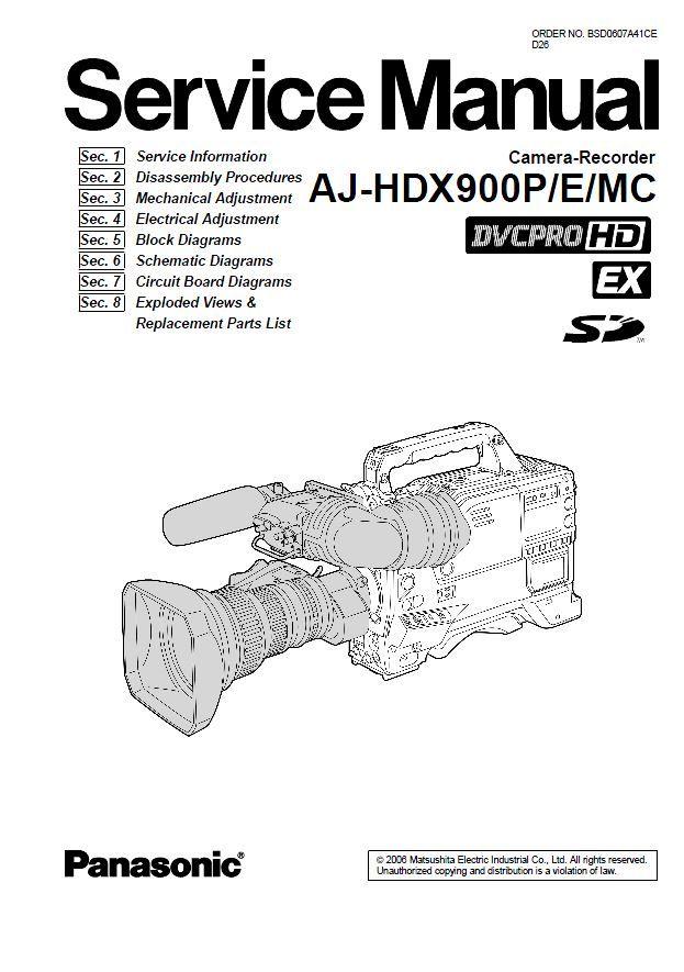 Panasonic AJ HDX900 HD Camcorder Service Manual in 2019