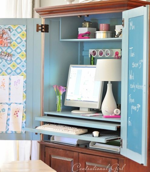 An armoire becomes a colorful workspace, complete with a chalkboard-painted door for jotting down ideas