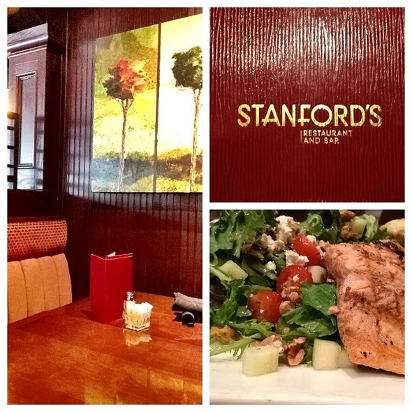 Grilled Salmon Salad at Stanford's Restaurant in Tukwila, WA. Reasonably priced, healthy portion, good service, tasty salad. I was content with this lunch. I wish my schedule would let me visit this place for their Happy Hour. Stanford's has a really good HH.
