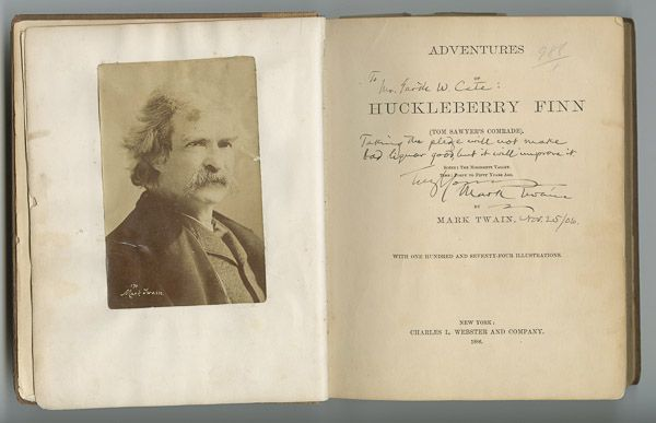 Samuel L. Clemens (Mark Twain) - A Presentation Copy of Huck Finn. This and more rare books for sale on CuratorsEye.com