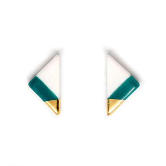 NEW - vertical triangle studs in teal, porcelain earrings, gold dipped earrings, modern jewelry