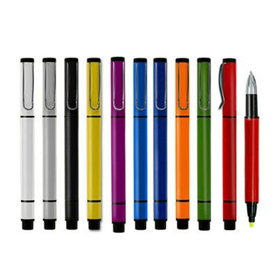 REF:LE MANS 2 EN 1 Bolígrafo Plástico. Con Resaltador de Tinta. Color del Resaltador Amarillo. Con Acabado Metalizado. Tipo de Producto: IMPORTADO Medida de Bolígrafo: 14 cm. Área de Marca en Barril: 4.5 cm ancho x 0.8 cm alto. Técnica de Marca: Tampografía. Colores Disponibles: Azul Oscuro, Azul Claro, Rojo, Morado, Amarillo, Blanco,