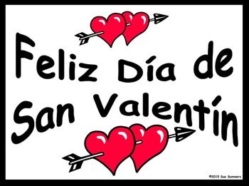 FREE - Spanish Valentine's Day Free Classroom Signs by Sue Summers