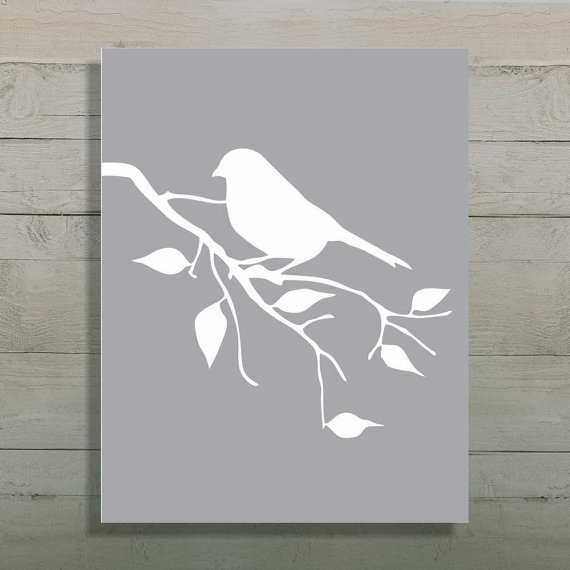 Bird Silhouette Art Print Tree Branch Art by UrbanStyleDesigns, $15.00