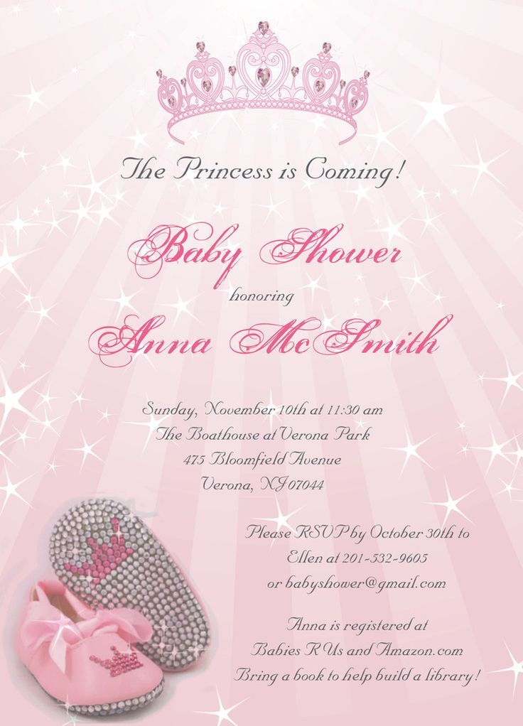 Princess Baby Shower Invitations....perfect for girl baby shower or customized differently for bridal shower.: