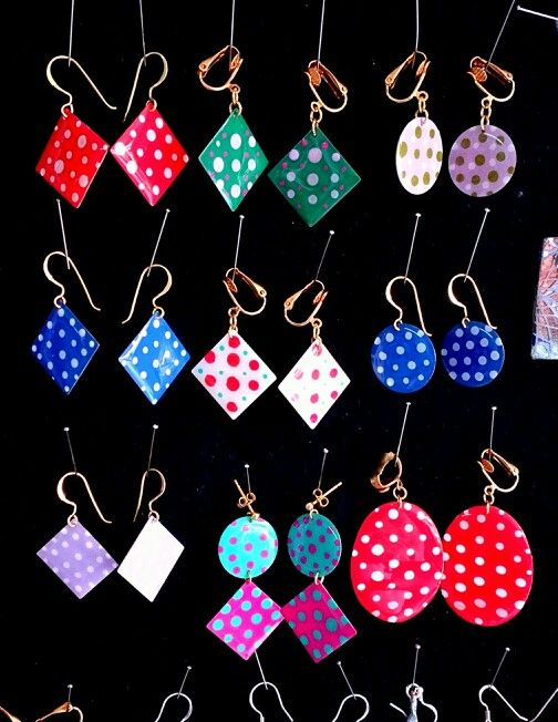The new Polka Dot collection earrings displayed at the atelier