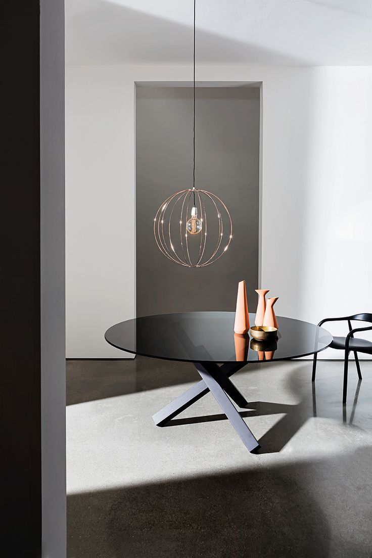 Aikido table with smoked glass top furnishes your #interiors with elegance and minimalism  #Sovetitalia #glass #home #decor