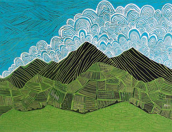Ecuadorian Landscape 4 Color Reductive Relief Print Printmaking Linocut 18 X 24