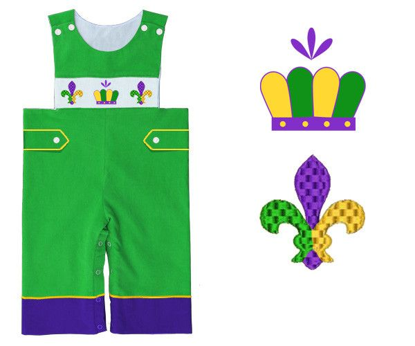 Boys Green Corduroy Smocked Mardi Gras Longall (w/out the purple band at the bottom)