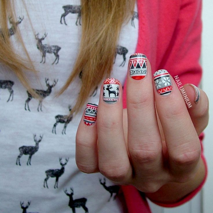 "nailuminium: "" Christmas Tribal Tutorial coming soon. "" The countdown to Christmas has begun and we'll be sharing the best holiday-themed nail art - keep those fingers festive with Lacquerism!"