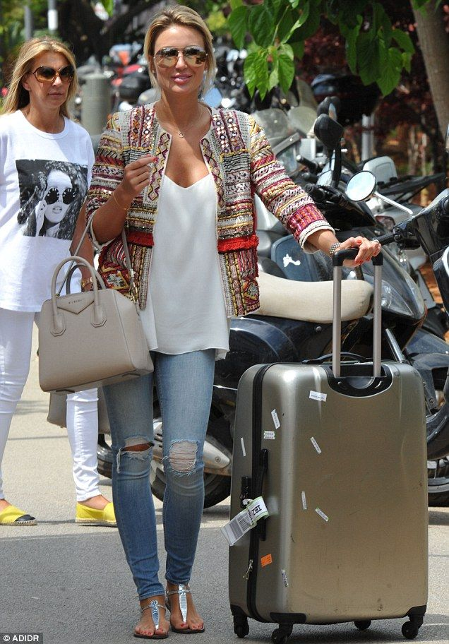 Alex Gerrard.. travel style - skinnies, Zara embroidered jacket with beads, white tee, and tote..