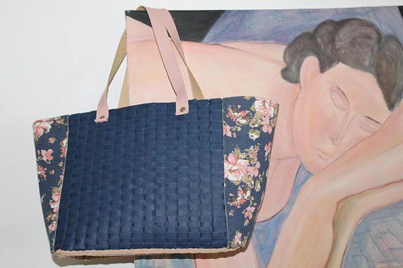 Elegant and casual bag Big shopping bag Fake skin and fabric