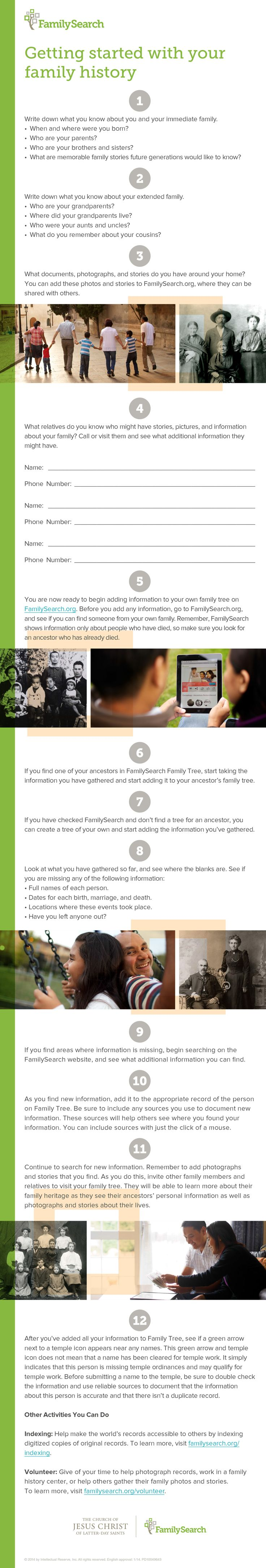 12 Steps to Get Started with Family History.