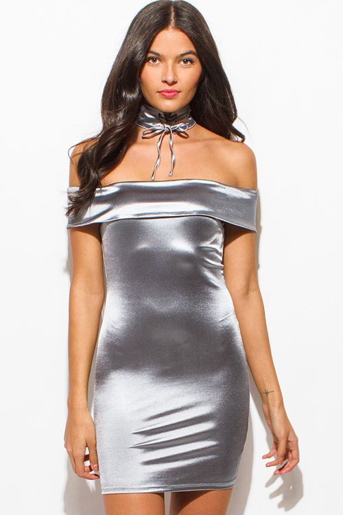7d7e372dea Cute cheap stone gray silver metallic satin choker off shoulder bodycon  fitted club mini dress