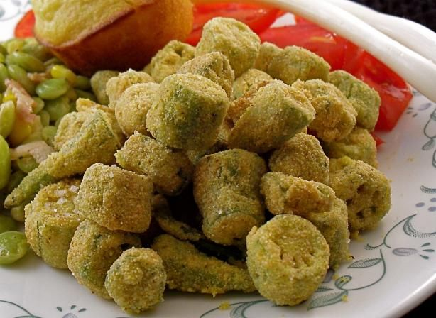 Authentic Southern Fried Okra from Food.com:   								Traditional cornmeal coating with a trick to make it stick!