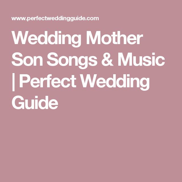 Wedding Mother Son Songs Music