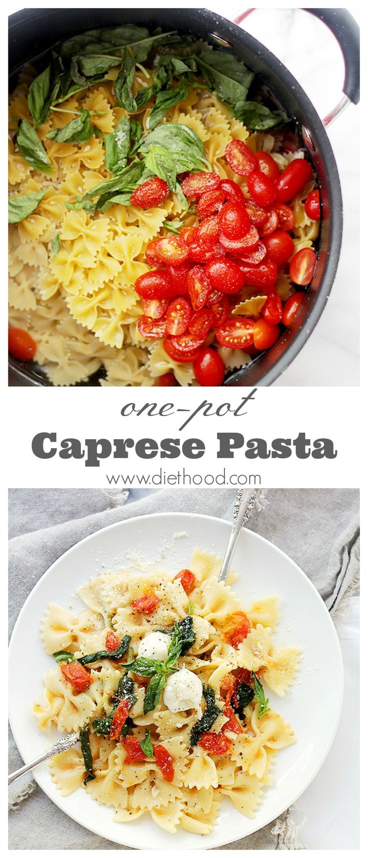 One Pot Caprese Pasta Dinner | www.diethood.com |The quickest, most delicious pasta dinner you will ever make!