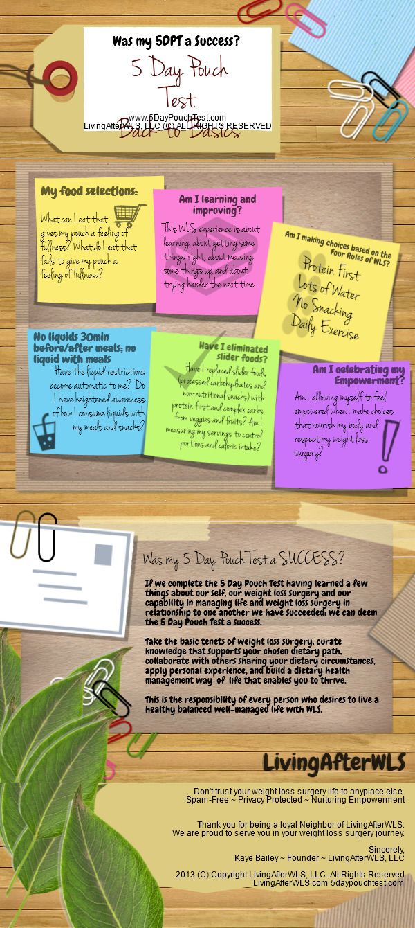 """Infographic: """"Was my 5 Day Pouch Test a success?"""" Helpful reminders for any stage of life after weight loss surgery. Please note - weight loss measured in lost pounds is not an indicator of success in this infographic. Check it out! 5DPT Success   @Piktochart Infographic"""