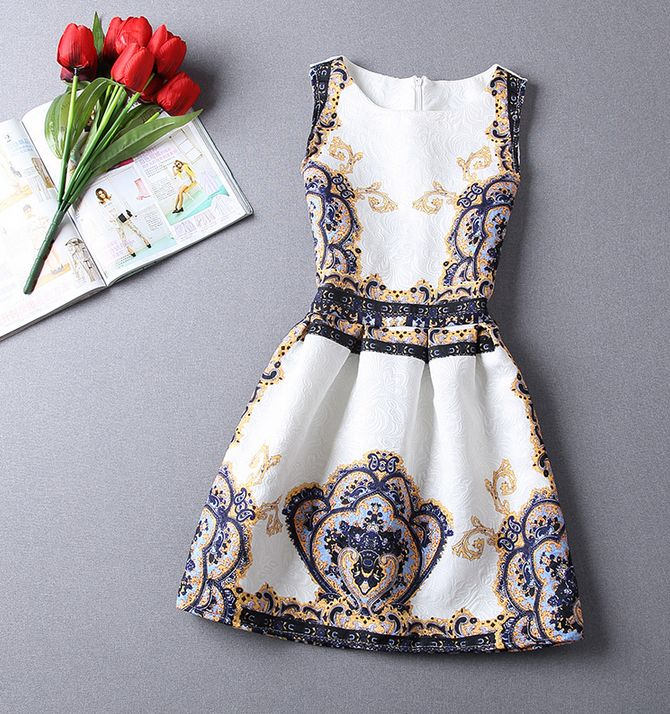 Fashion jacquard printed sleeveless dress VFC32415JH