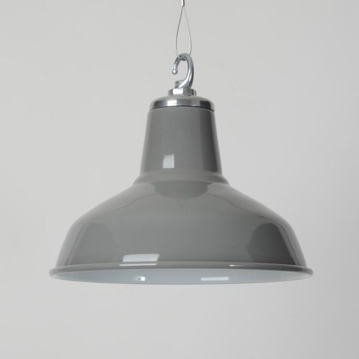 The Classic Factory Shade -Grey- - Vitreous enamelled pendant shades in Grey (RAL 7046).  Manufactured entirely in the UK in heavy gauge spun steel with vitreous enamel finish and bespoke cast-aluminium caps.   Supplied fully assembled and tested to BS EN 60598 under accreditation...