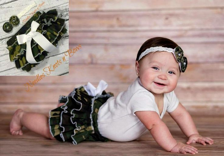 Girls Camouflage Ruffled Bloomers, Baby Girls Camo Bloomers, Military – Needles Knots n Bows