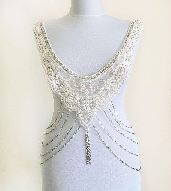 Steampunk BODY Necklace Steampunk Lace Collar ivory by aynurdereli, $59.00 #BODYNecklace