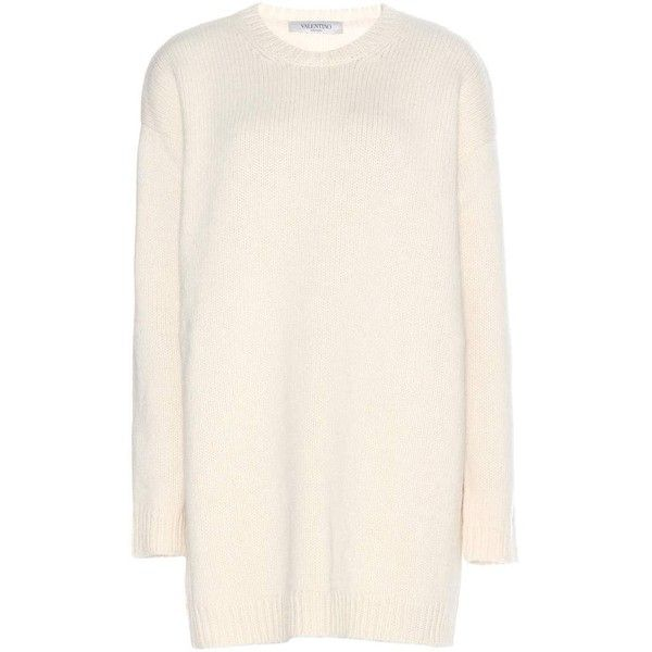Valentino Wool Sweater Dress found on Polyvore featuring dresses, tops, sweaters, neutrals, woolen dress, pink dress, wool sweater dress, cream sweater dress and valentino dresses