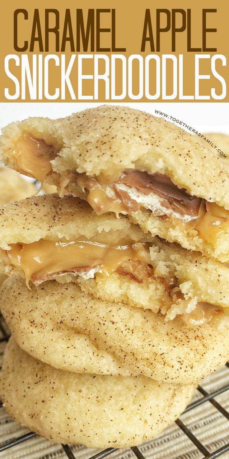 Weiche, dicke, zähe Snickerdoodle-Kekse, gefüllt mit einem Milchstraßen-Karamell-Apfel! …