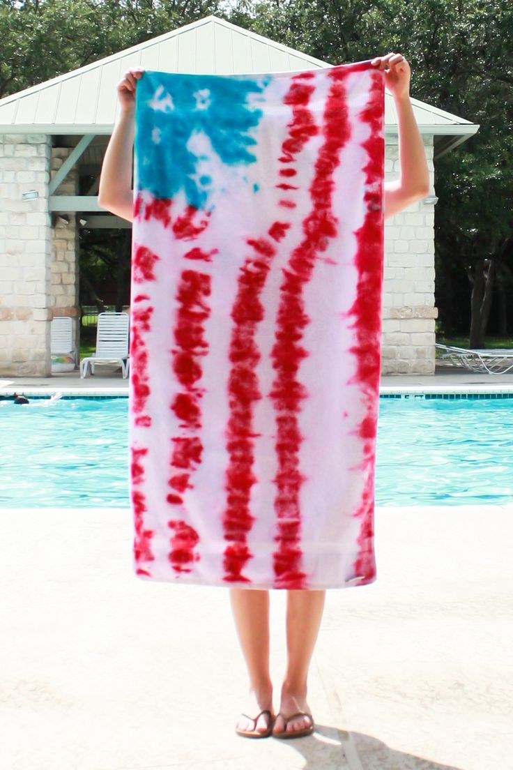 DIY Tie Dye American Flag Towels- One Little Minute-12