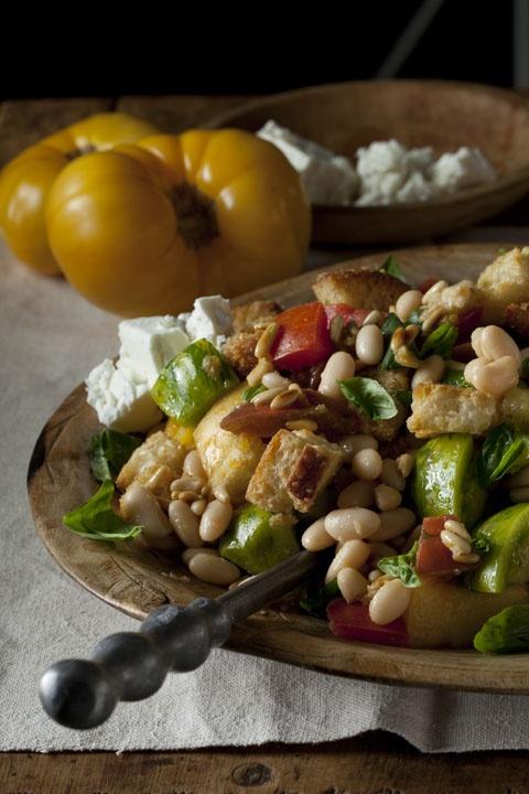 Dinner.  Heirloom Tomato Bread Salad from the Beekman 1802 Heirloom Cookbook: Salad Goodness, Tomatoes Breads Salad