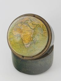 "Lot No 302 Newton, Son & Berry (fl.1830-1838, London), a Newton`s New and Improved Terrestrial pocket Globe 3 1/2"",  contained in a carrying case, labelled Newton's New and Improved Terrestrial Globe, Published by Newton Son & Berry, 56 Chantry Lane, London, sold for £1200"