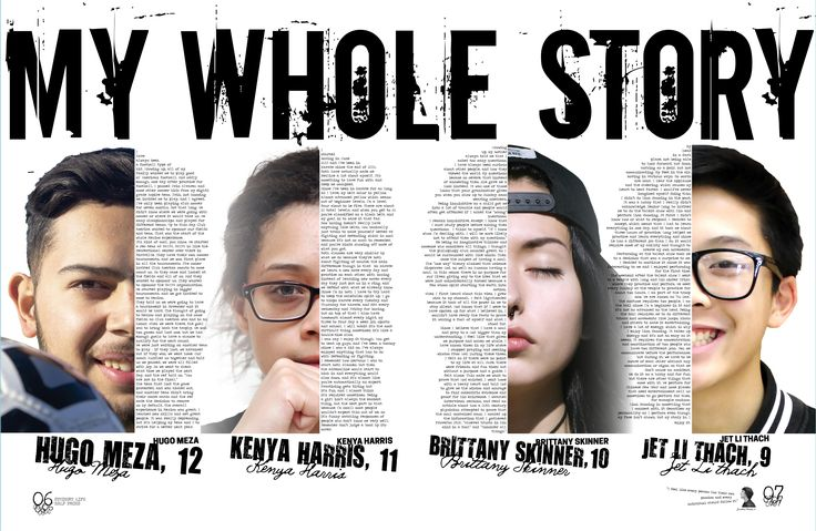 "Krisof's Notes: I think the way the header is placed over the heads and some of their individual sotry's texts really kind of brought the ""whole"" of it's perspective into view. #Walsworth Haltom High School, Haltom, Texas #AskMike"