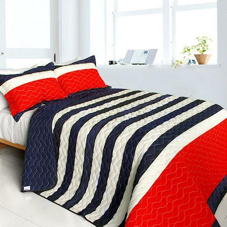 Americana Red Navy Blue White Striped Teen Boy Bedding