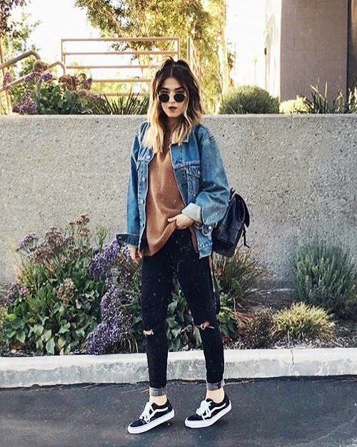 top denim jacket, tee shirt bottom ripped jeans shoes sneakers Perfect  for