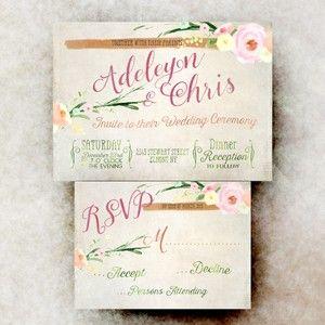 Wedding invitation Set - Pink rustic wedding invitation, printable wedding invitation