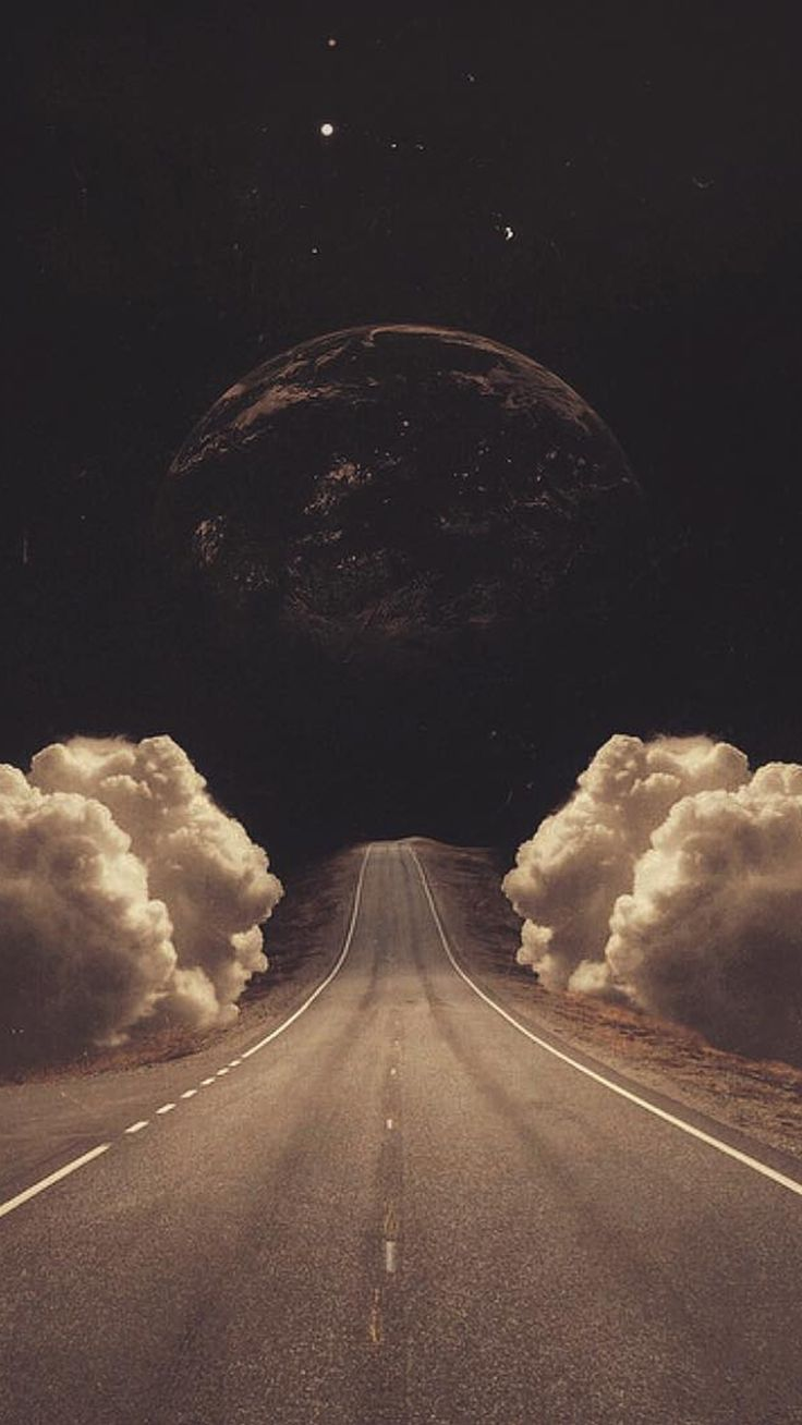 Surreal Art Collage Road Clouds Planet #iPhone #6 #plus #wallpaper