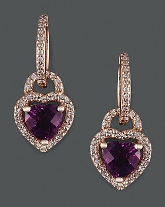 Diamond And Amethyst Earrings In 14K Rose Gold. Pretty sure I need these.