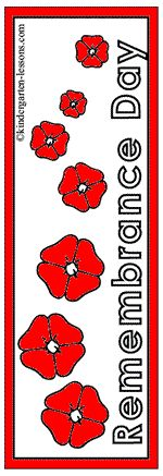 Remembrance Day bookmarks & books http://www.kindergarten-lessons.com/remembrance_day_activities.html
