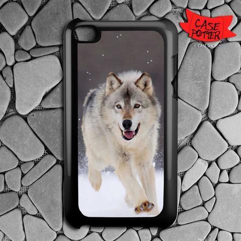 Wolf Run On White Snow iPod 4 Black Case