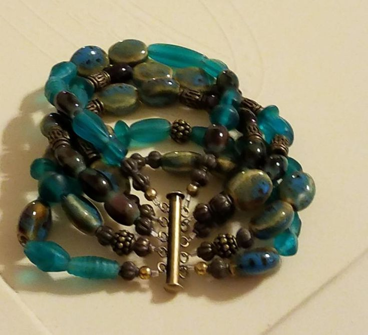 One of a Kind Teal Turquoise 5 Strand Creation by Designs By Southernbelle