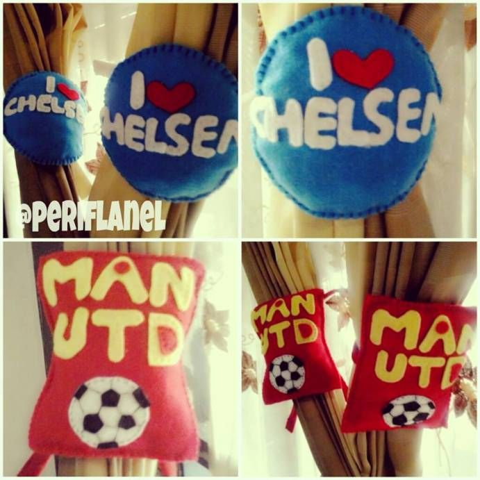 Soccer Mania. Felt Curtain Holder. Handmade.